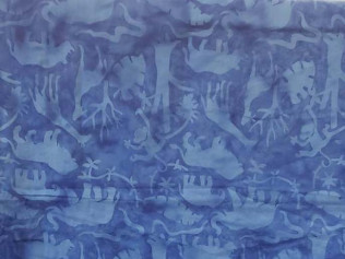 Island Batik Jungle Animals Blue Birds #07530