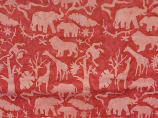 Island Batik Jungle Animals Hot Pink #07325