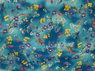 P&B textiles humming birds blue 04084